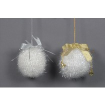 Ball White Tinsel w/Silv & Gld Ribbon Asst*2 4""