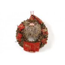 Wreath Red/Brn w/Santa Head/Cone/Ribbon 16""