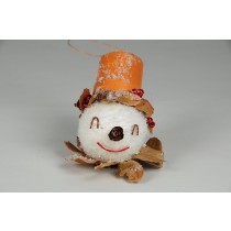 Snowman Head w/Leaf Crown/Hat 3""