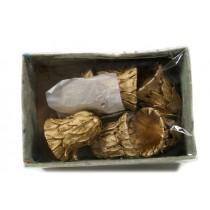"Bell Gold Seed Pod w/Glit/Hanger 3.5"""