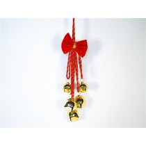 Bell Cluster Gold w/Red Ribbon/Hanger