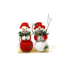Snowman w/Red Velet Clothes Asst*2 7.5""