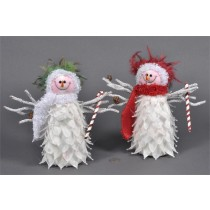 Snowman White/Red/Grn Feather Asst*2 9""
