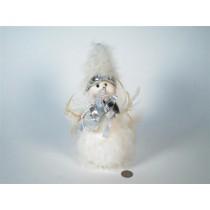 """Snowman Fuzzy w/Silver Bow 9"""""""