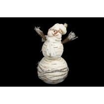 Snowman White Yarn w/Twig 14""