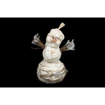 Snowman White Yarn w/Twig 9""