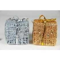 "Gift Box Gold/Silver Glit w/Hanger 3"""