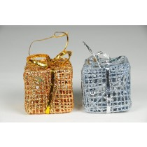 "Gift Box Gold/Silver Glit w/Hanger 2.5"""