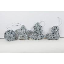 """Ornament Silver w/Hanger Asst*4 4.5"""""""