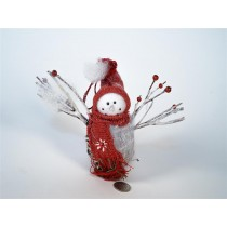 Snowman w/Twig/Red Hat & Scarf 6""