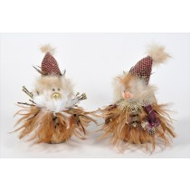 Snowman Brown Feather Asst*2 6""
