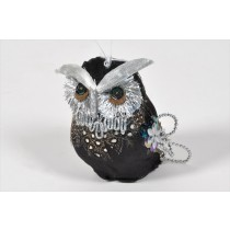 Owl Black/Silver Sequin 3""