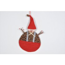 Snowman Brown Cone Chip w/Red Hat 13""