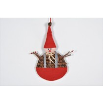 Snowman Brown Cone Chip w/Red Hat 10""