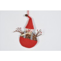Snowman Brown Cone Chip w/Red Hat 8""