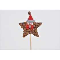Star Brown Cone Chip w/Santa Head on Pick 4""