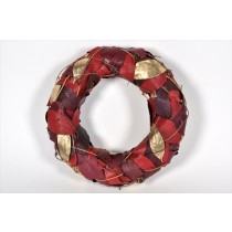 Wreath Red/Gold Leaf 12""