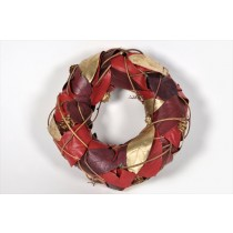 Wreath Red/Gold Leaf 8""