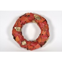 Wreath Orange/Gold Leaf/Cone/Twig 12""
