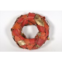 Wreath Orange/Gold Leaf/Cone/Twig 8""