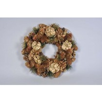 Wreath Gold Cone w/Pine/Berry/Glit 13""