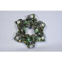 """Wreath Star Grn/Silv Cone/Apple/Pine/Glit 14.5"""""""
