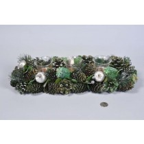 """Candleholder Grn/Silv Cone/Apple/Pine/Leaf/Glit 16"""""""