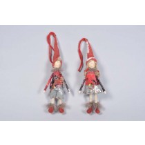 Doll Red Ornament Asst*2 8""