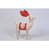 Deer Lte Brn/Red Stuffed Cloth Standing 12.5""