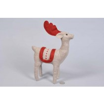 Deer Lte Brn/Red Stuffed Cloth Standing 9.5""
