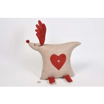 Deer Cartoon Lte Brn/Red Stuffed Cloth Standing 9.5""