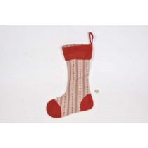 X'mas Sock Red Hand Quilt 16.5""