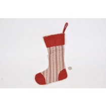 X'mas Sock Red Hand Quilt 13.5""