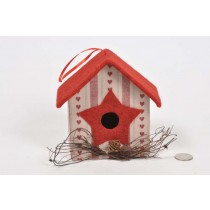Birdhouse A-Shape Cloth w/Print/Twig 6""