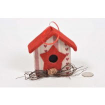Birdhouse A-Shape Cloth w/Print/Twig 4""