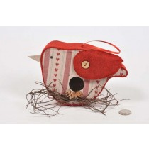 Birdhouse Bird-Shape Cloth w/Print/Twig 5""