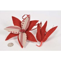 Poinsettia Red Hand Sewn Ornament 3.5""