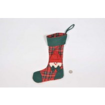 X'mas Sock Red Plaid Hand Quilt 13""