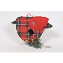 Birdhouse Bird-Shape Cloth Plaid w/Print/Twig 5""