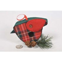 Birdhouse Bird-Shape Cloth Plaid w/Print/Twig 3.5""
