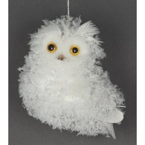 Owl w/White Snow on Hanger 4""