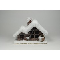 "House Snow Log Cabin 9""x6""x8""H"