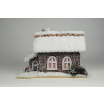 "House Snow Nat. Cone Chip Roof w/2 Windows 13""x8""x9""H"