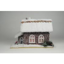 "House Snow Nat. Cone Chip Roof w/2 Windows 13""x8""x9""H"