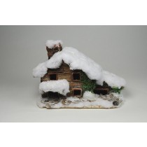 "House Snow Nat. Bark w/4 Windows 9""x6""x7""H"