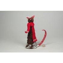 Cat Brown Twig w/Red Scarf 9.5""