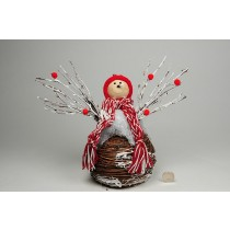 Snowman BrownTwigs w/Snow/Red Knits 9""