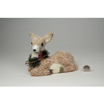 Deer Nat. Jute w/Snow/Berry Sitting 5""