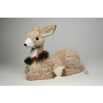 Deer Nat. Jute w/Snow/Berry Sitting 12""