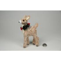 Deer Nat. Jute w/Snow/Berry Standing 7""